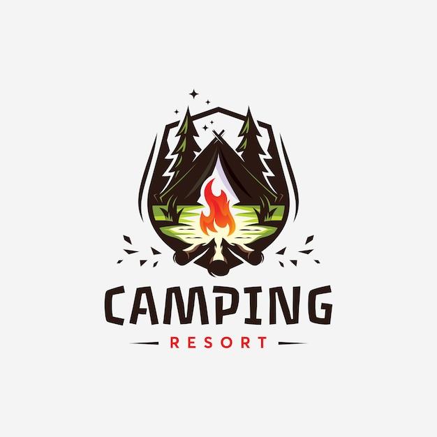 Abstrack canping resort logo création de templat ilustration Vecteur Premium