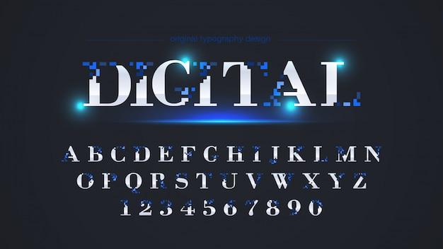 Abstract blue pixel typography design Vecteur Premium