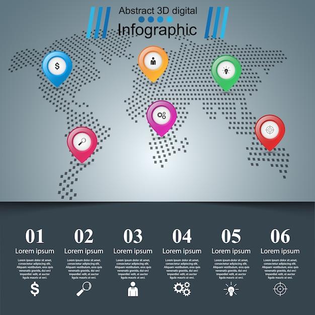 Abstract illustration numérique 3d infographique Vecteur Premium