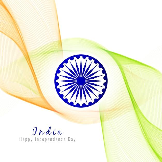 Abstract ondulé drapeau indien fond d'écran Vecteur gratuit
