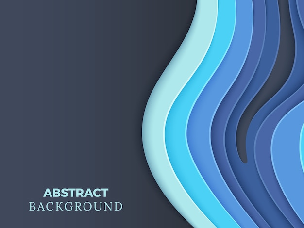 Abstract vector background avec du papier superposé bleu coupe les vagues 3d Vecteur Premium