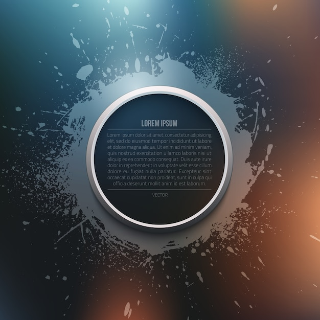 Abstract vector background grunge moderne avec modèle de cadre de cercle Vecteur Premium