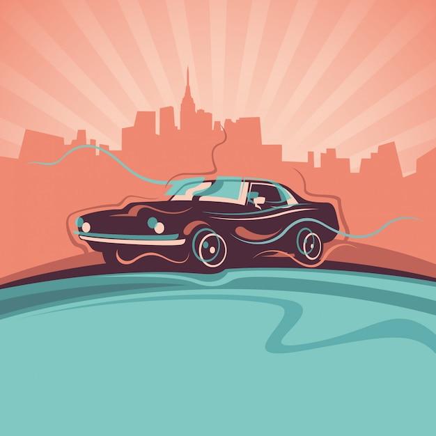 Abstraction avec voiture Vecteur Premium