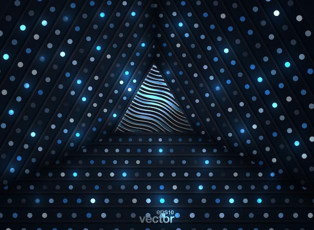 Abstrait 3d avec une combinaison de points or lumineux dans un style 3d Vecteur Premium