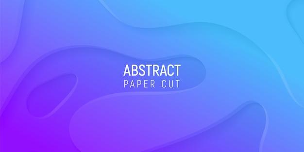 Abstrait 3d Avec Du Papier Violet Et Bleu Coupe Les Vagues Dégradées Vecteur Premium