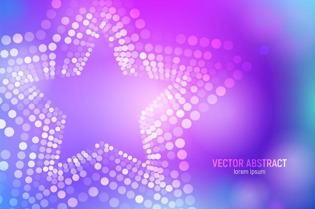 Abstrait 3d étoiles pourpres et bleues avec des cercles, des reflets et des reflets lumineux. Vecteur Premium
