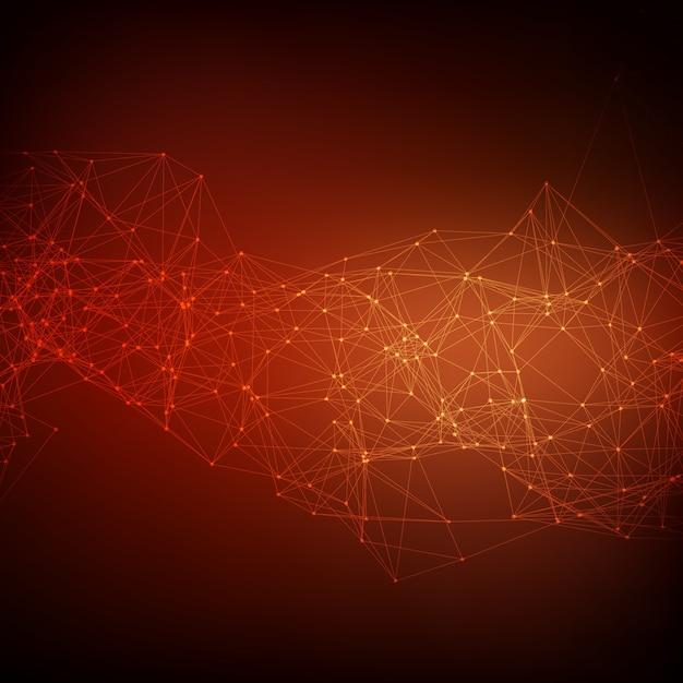 Abstrait Arrière-plan Vecteur Réseau Rouge. Des Points Connectés Chaotically Et Des Polygones Volant Dans L'espace. Débris Volants. Carte De Style Technologique Futuriste. Lignes, Points, Cercles Et Avions. Conception Futuriste. Vecteur gratuit