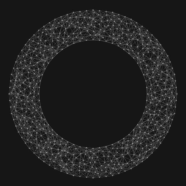 Abstrait Arrière-plan Vecteur Vecteur. Des Points Connectés Chaotically Et Des Polygones Volant Dans L'espace. Débris Volants. Carte De Style Technologique Futuriste. Lignes, Points, Cercles Et Avions. Conception Futuriste. Vecteur gratuit