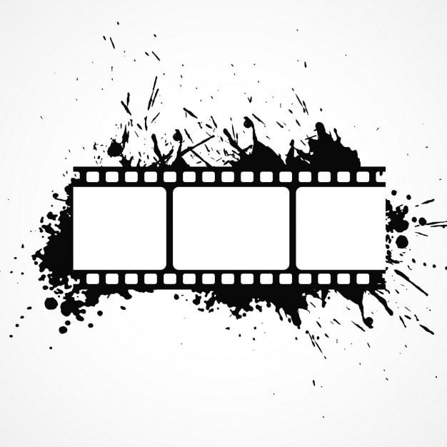 Abstrait bande de film 3d avec effet de l'encre noire Vecteur gratuit