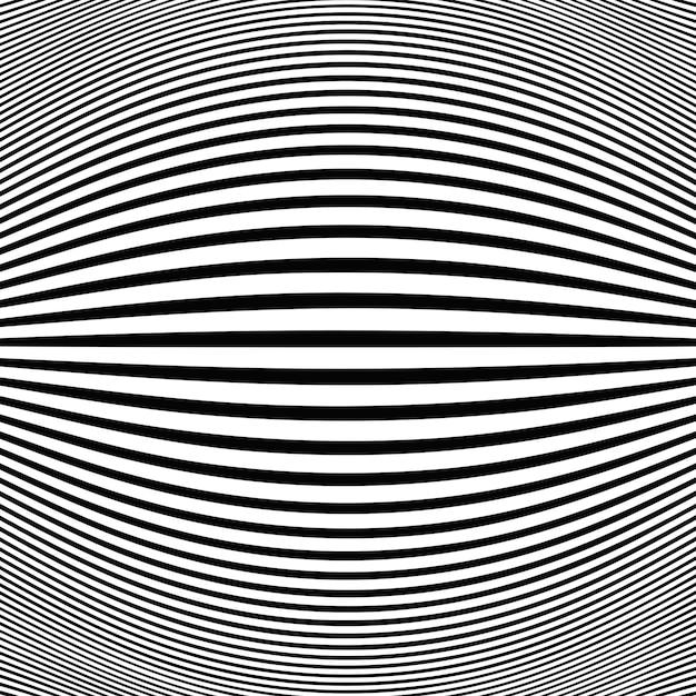 Abstrait bande noire ligne op art fond oeil de poisson Vecteur Premium