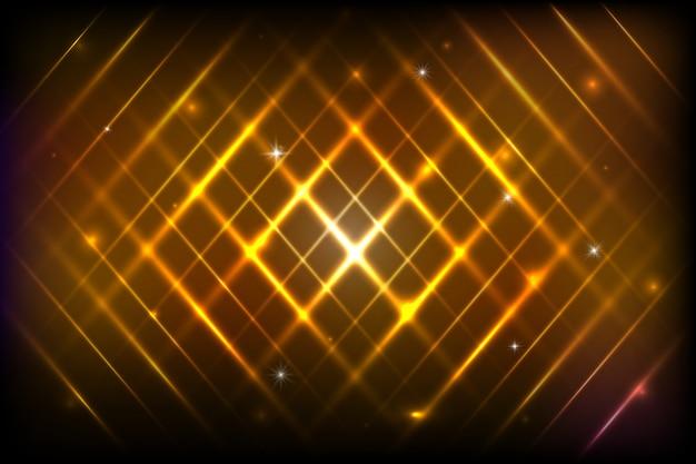 Abstrait Avec Des Bandes Brillantes. Abstrait Avec Des Lumières Magiques Brillantes Et Des Lignes Futuristes Brillantes Dans L'espace Sombre. Illustration. Design Coloré. Vecteur Premium