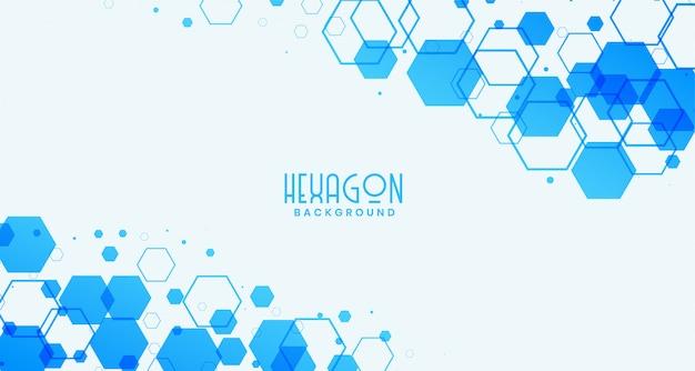 Abstrait blanc avec des formes hexagonales bleues Vecteur gratuit