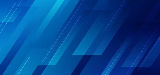 Abstrait Bleu Géométrique Avec Fond De Technologie De Ligne Vecteur Premium