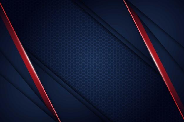 Abstrait Bleu Marine Rouge Lumière Se Chevauchent Avec Fond De Maille Hexagonale Vecteur Premium