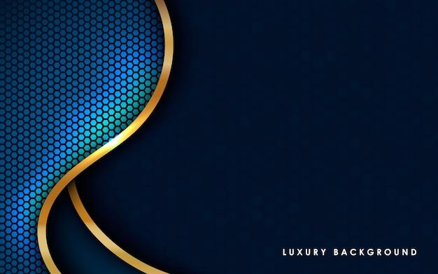 Abstrait Bleu Moderne Avec Liste D'or. Vecteur Premium