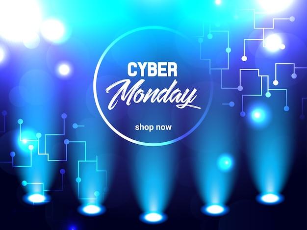 Abstrait brillant illustration électrique pour cyber lundi Vecteur Premium