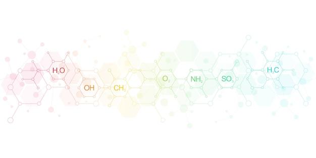 Abstrait De Chimie Avec Des Formules Chimiques Et Des Structures Moléculaires. Concept De Technologie De La Science Et De L'innovation. Vecteur Premium