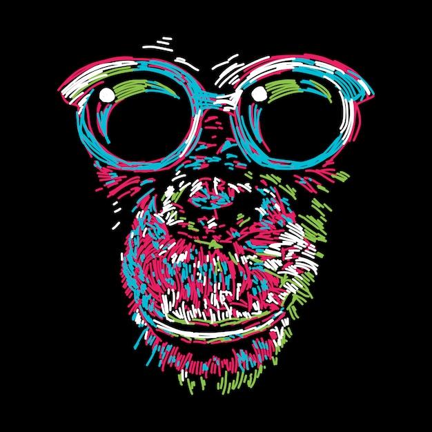 Abstrait chimpanzé coloré avec des lunettes Vecteur Premium