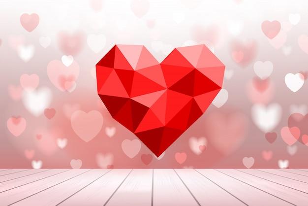 Abstrait de coeur rouge avec la lumière floue bokeh. Vecteur Premium
