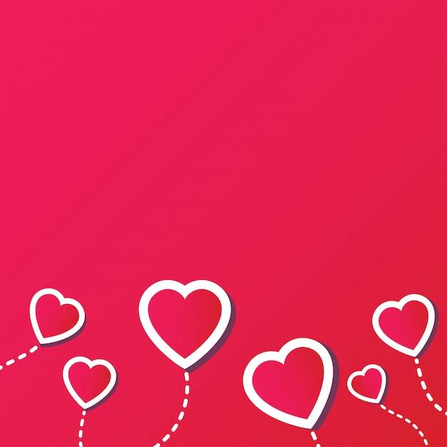 Abstrait avec coeur rouge Vecteur Premium