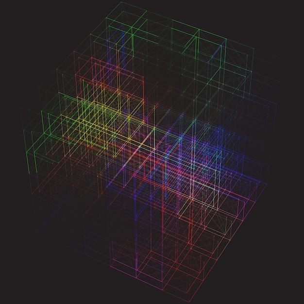Abstrait Coloré Cube Plexus Vecteur gratuit