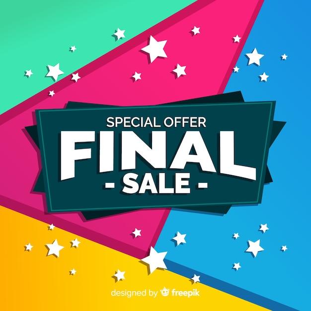 Abstrait coloré design de vente finale Vecteur gratuit