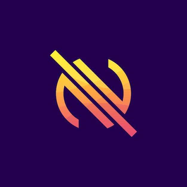 Abstrait coloré lettre n logo premium Vecteur Premium