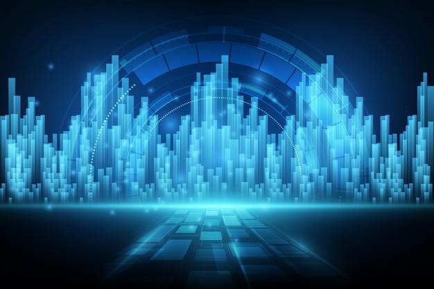 Abstrait de la conception des éléments numériques concept pour le cyberespace pour la technologie numérique future Vecteur Premium