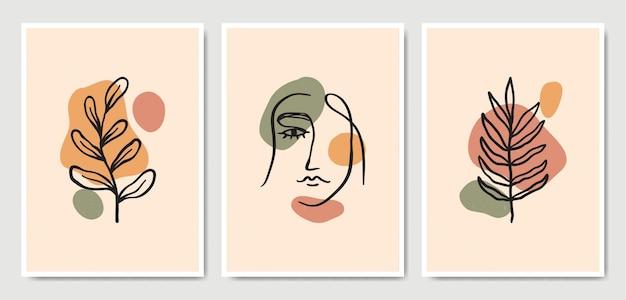 Abstrait Contemporain Au Milieu Du Siècle Moderne Laisse Face à Des Portraits D'art En Ligne Collection De Modèles D'affiche Boho. Vecteur Premium