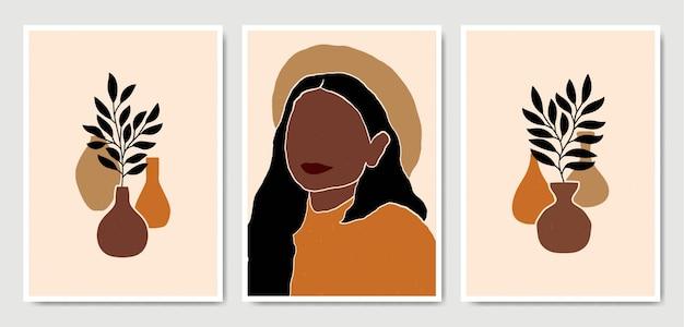 Abstrait Contemporain Au Milieu Du Siècle Moderne Laisse Visage Portraits Collection De Modèles D'affiche Boho. Vecteur Premium