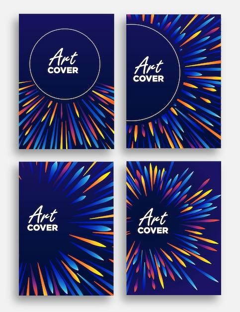Abstrait couverture fond illustration de faisceau lumineux zoom avec coloré comme des vagues de plume Vecteur Premium