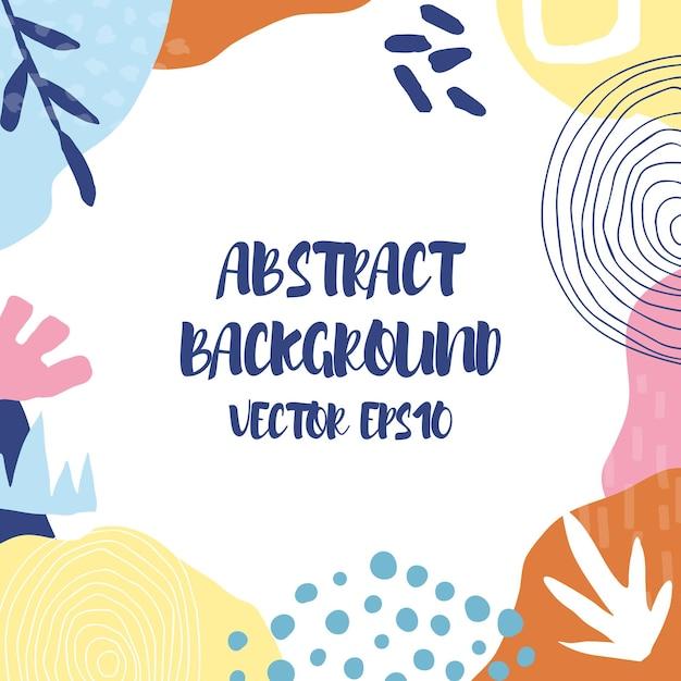 Abstrait Dans Un Style Branché Avec Des éléments Botaniques Et Géométriques, Des Textures. Vecteur Premium