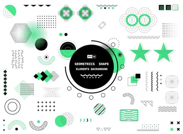 Abstrait Design Noir Et Vert Géométrique Memphis élément Fond. Vecteur Premium