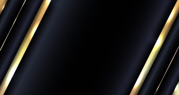 Abstrait Diagonale Métallique Or Sur Fond Sombre Vecteur Premium