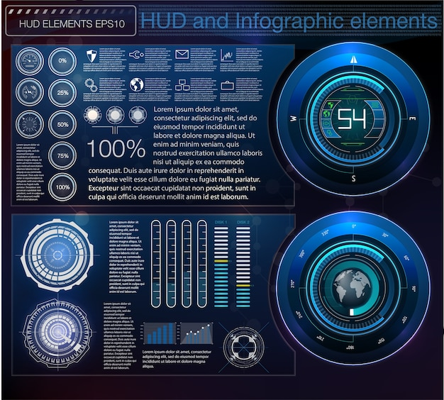 Abstrait Avec Différents éléments De La Hud. Vecteur Premium