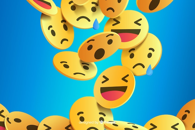 Abstrait avec différents emojis Vecteur Premium