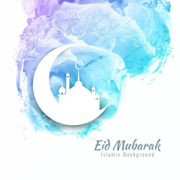 Abstrait Eid Mubarak fond d'aquarelle Vecteur gratuit