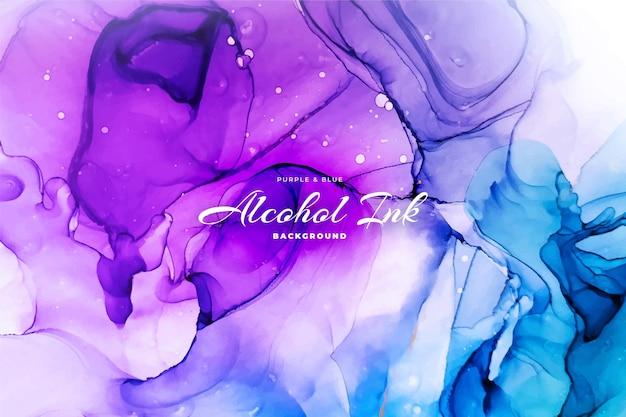 Abstrait Encre D'alcool Bleu Et Violet Vecteur Premium