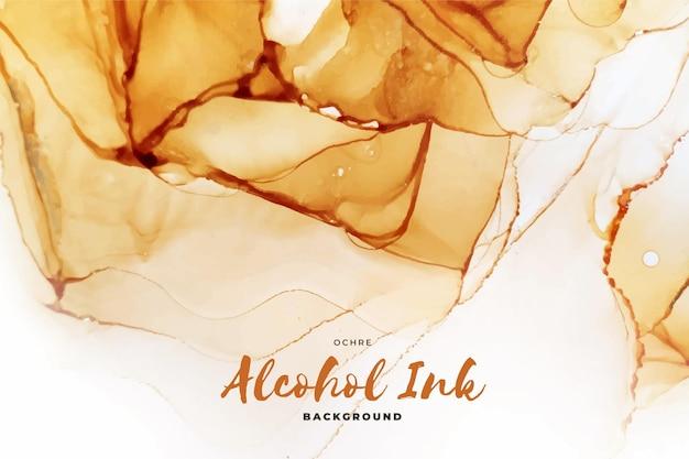 Abstrait Encre Alcool Ocre Vecteur Premium