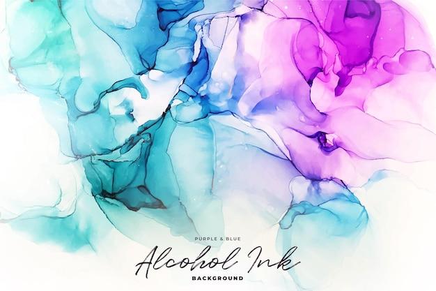 Abstrait Encre D'alcool Vert, Bleu Et Violet Vecteur Premium