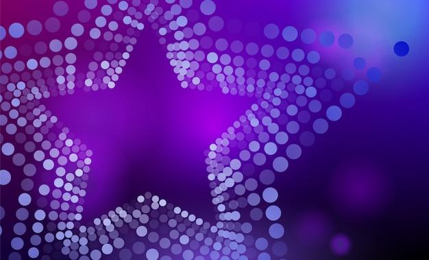 Abstrait étoile violet et bleu 3d avec cercles Vecteur Premium