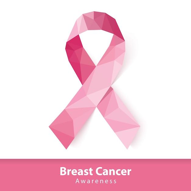Abstrait faible polygone de ruban rose. symbole de sensibilisation au cancer du sein Vecteur Premium