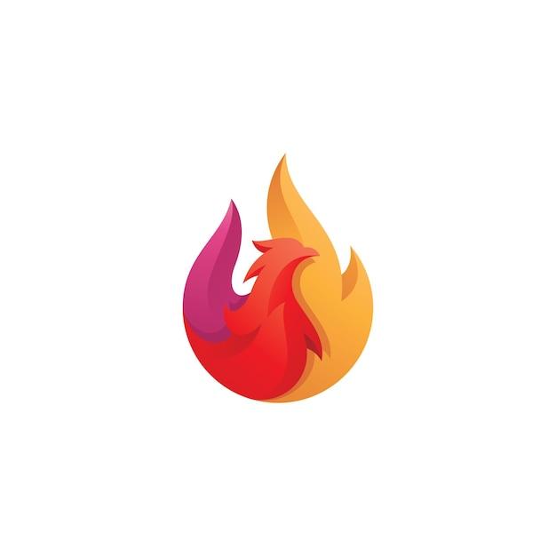 Abstrait Feu Et Oiseau Phoenix Logo Vecteur Premium