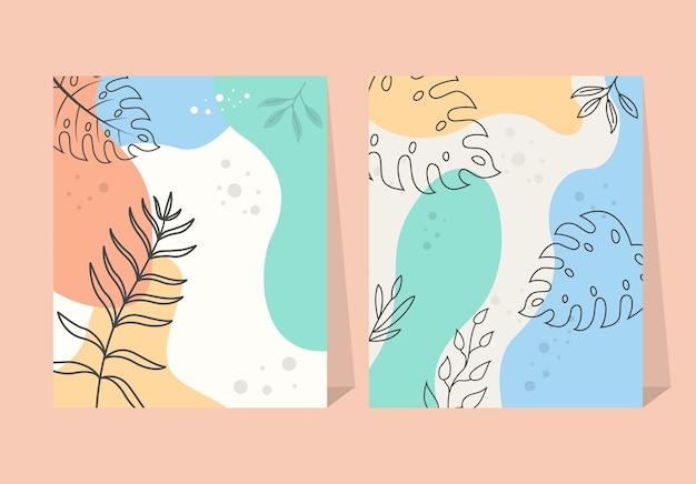 Abstrait Feuilles Tropicales éléments Fleur Fond D'affiche Vecteur Premium