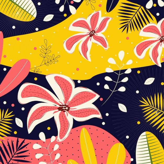 Abstrait avec des fleurs et des feuilles tropicales Vecteur Premium
