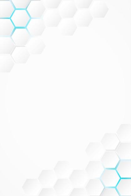 Abstrait. Fond Blanc à Six Pans, Lumière Bleue Et Ombre. Vecteur. Vecteur Premium