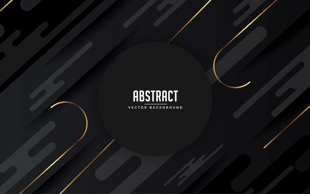 Abstrait fond géométrique noir et gris et or couleur moderne Vecteur Premium