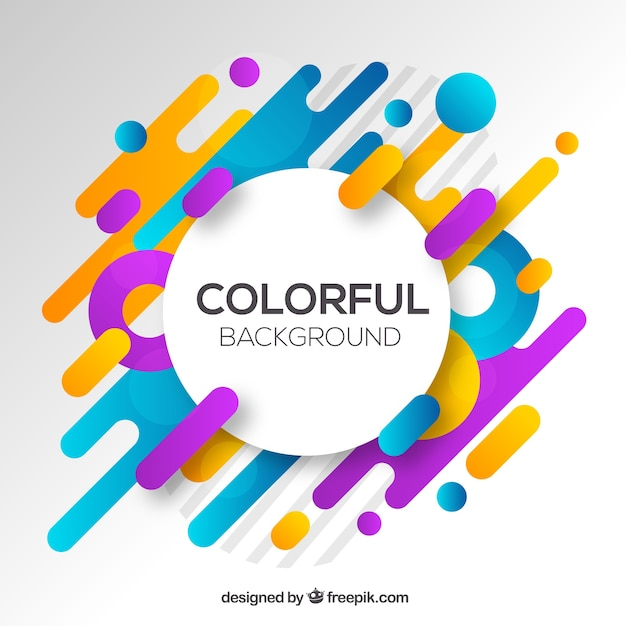 Abstrait avec des formes arrondies colorées Vecteur gratuit