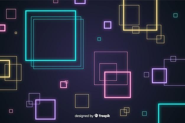Abstrait avec des formes géométriques au néon Vecteur gratuit