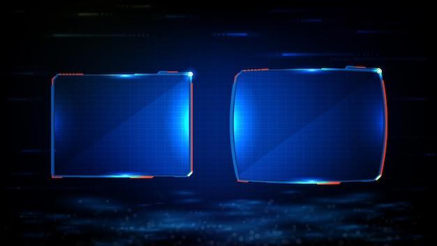 Abstrait Futuriste De Cadre De Science-fiction Technologie Rougeoyante Bleu Vecteur Premium